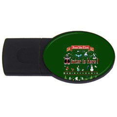 Winter Is Here Ugly Holiday Christmas Green Background Usb Flash Drive Oval (2 Gb)  by Onesevenart