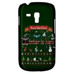 Winter Is Here Ugly Holiday Christmas Green Background Samsung Galaxy S3 Mini I8190 Hardshell Case by Onesevenart