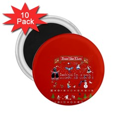 Winter Is Here Ugly Holiday Christmas Red Background 2 25  Magnets (10 Pack)  by Onesevenart