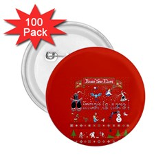 Winter Is Here Ugly Holiday Christmas Red Background 2 25  Buttons (100 Pack)  by Onesevenart