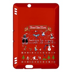 Winter Is Here Ugly Holiday Christmas Red Background Kindle Fire Hdx Hardshell Case by Onesevenart