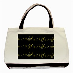 Yellow Elegant Xmas Snowflakes Basic Tote Bag by Valentinaart