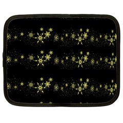 Yellow Elegant Xmas Snowflakes Netbook Case (xl)  by Valentinaart