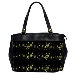 Yellow Elegant Xmas Snowflakes Office Handbags (2 Sides)  by Valentinaart