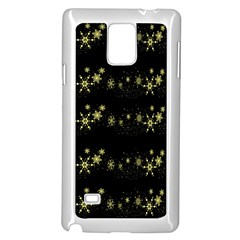 Yellow Elegant Xmas Snowflakes Samsung Galaxy Note 4 Case (white) by Valentinaart