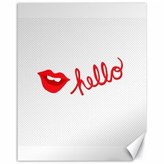 Hello Lip Red Sexy Canvas 16  X 20   by AnjaniArt