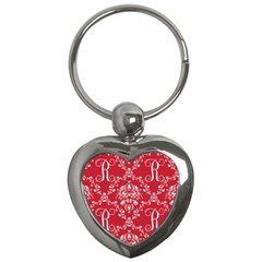 Initial Damask Red Paper Key Chains (heart)  by AnjaniArt