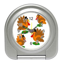 Thanksgiving Turkeys Travel Alarm Clocks by Valentinaart
