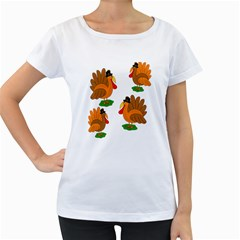 Thanksgiving turkeys Women s Loose-Fit T-Shirt (White) by Valentinaart