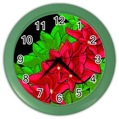 Xmas Red Flowers Color Wall Clocks by Valentinaart