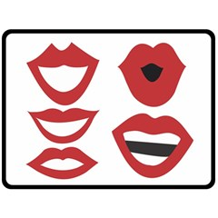 Lip Sexy Red Double Sided Fleece Blanket (large)  by AnjaniArt