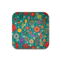 Ornaments Homemade Christmas Ornament Crafts Rubber Square Coaster (4 Pack)  by AnjaniArt