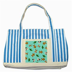 Pattern Merry Christmas Gingerbread Reindeer Man Snowman Holly Striped Blue Tote Bag by AnjaniArt