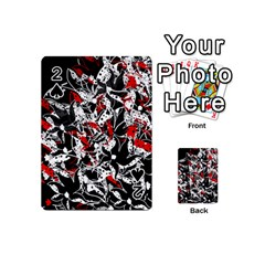 Red Abstract Flowers Playing Cards 54 (mini)  by Valentinaart