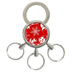 Red Winter Holiday Pattern Red Christmas 3 Ring Key Chains by AnjaniArt