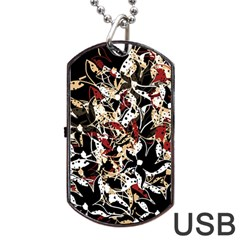 Abstract Floral Design Dog Tag Usb Flash (one Side) by Valentinaart