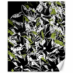 Green floral abstraction Canvas 16  x 20