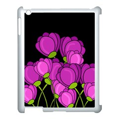 Purple Tulips Apple Ipad 3/4 Case (white) by Valentinaart