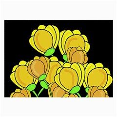 Yellow Tulips Large Glasses Cloth (2 Side) by Valentinaart