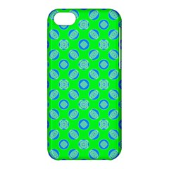 Mod Blue Circles On Bright Green Apple Iphone 5c Hardshell Case by BrightVibesDesign
