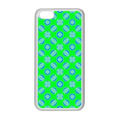 Mod Blue Circles On Bright Green Apple Iphone 5c Seamless Case (white) by BrightVibesDesign