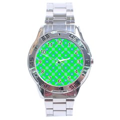 Mod Blue Circles On Bright Green Stainless Steel Analogue Watch by BrightVibesDesign