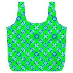 Mod Blue Circles On Bright Green Full Print Recycle Bags (l)  by BrightVibesDesign