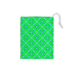 Mod Blue Circles On Bright Green Drawstring Pouches (small)  by BrightVibesDesign