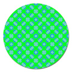 Mod Blue Circles On Bright Green Magnet 5  (round) by BrightVibesDesign