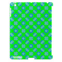 Mod Blue Circles On Bright Green Apple Ipad 3/4 Hardshell Case (compatible With Smart Cover) by BrightVibesDesign