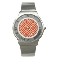 Mod Yellow Circles On Orange Stainless Steel Watch by BrightVibesDesign