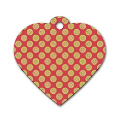 Mod Yellow Circles On Orange Dog Tag Heart (One Side) by BrightVibesDesign