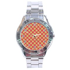 Mod Yellow Circles On Orange Stainless Steel Analogue Watch by BrightVibesDesign