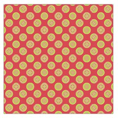Mod Yellow Circles On Orange Large Satin Scarf (square) by BrightVibesDesign