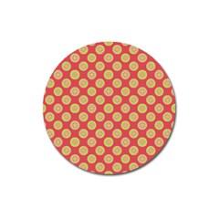 Mod Yellow Circles On Orange Magnet 3  (round) by BrightVibesDesign