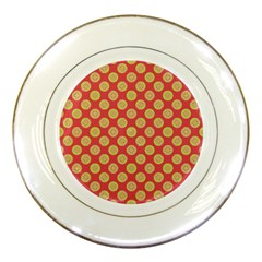 Mod Yellow Circles On Orange Porcelain Plates by BrightVibesDesign
