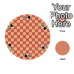 Mod Yellow Circles On Orange Playing Cards 54 (round)  by BrightVibesDesign