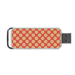 Mod Yellow Circles On Orange Portable Usb Flash (two Sides) by BrightVibesDesign