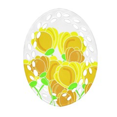 Yellow Flowers Ornament (oval Filigree)  by Valentinaart