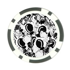 Black And White Garden Poker Chip Card Guards by Valentinaart