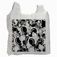 Black And White Garden Recycle Bag (one Side) by Valentinaart