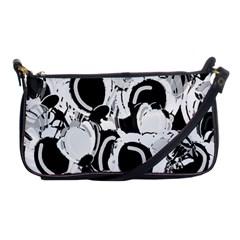 Black And White Garden Shoulder Clutch Bags by Valentinaart