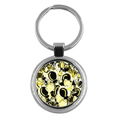 Yellow Abstract Garden Key Chains (round)  by Valentinaart
