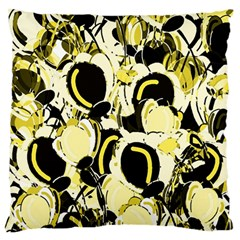 Yellow Abstract Garden Large Flano Cushion Case (two Sides) by Valentinaart