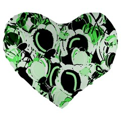 Green Abstract Garden Large 19  Premium Heart Shape Cushions by Valentinaart