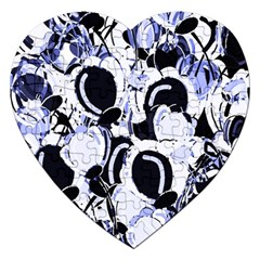 Blue abstract floral design Jigsaw Puzzle (Heart) by Valentinaart