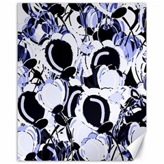 Blue Abstract Floral Design Canvas 16  X 20   by Valentinaart