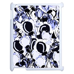 Blue Abstract Floral Design Apple Ipad 2 Case (white) by Valentinaart
