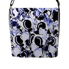 Blue Abstract Floral Design Flap Messenger Bag (l)  by Valentinaart