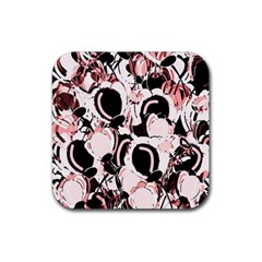 Pink abstract garden Rubber Coaster (Square)